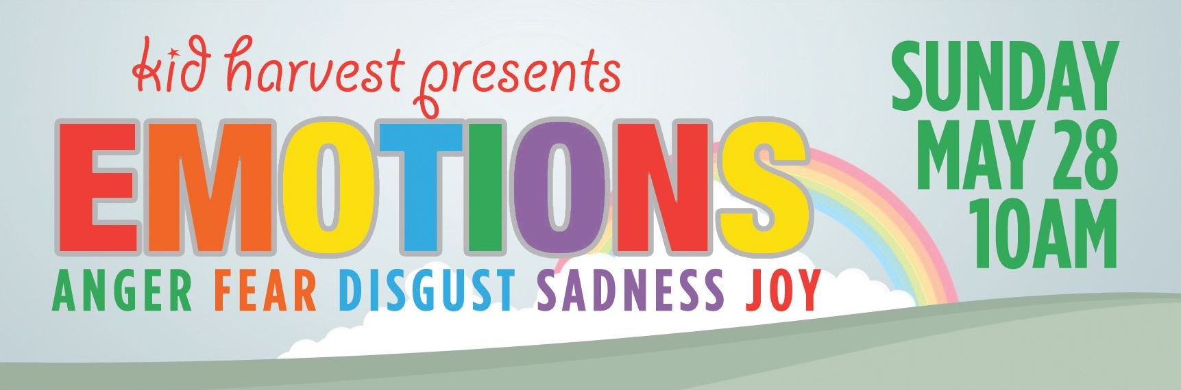 Kid Harvest Presents Emotions - Anger, Fear, Disgust, Sadness, Joy | Sunday, May 28, 10am